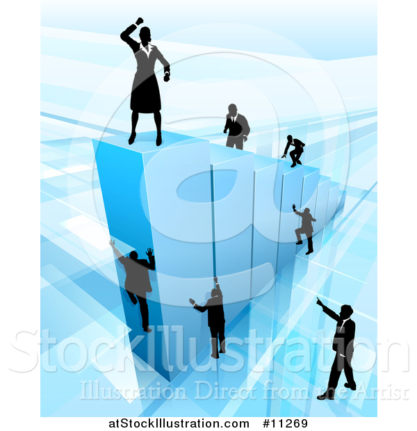 Vector Illustration of a 3d Blue Bar Graph with Silhouetted Business Men and Women Competing to Reach the Top