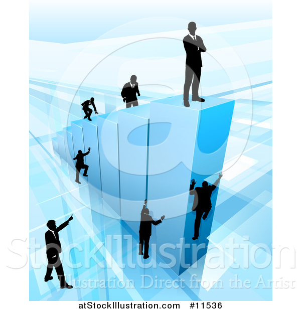 Vector Illustration of a 3d Blue Bar Graph with Silhouetted Business Men Competing to Reach the Top
