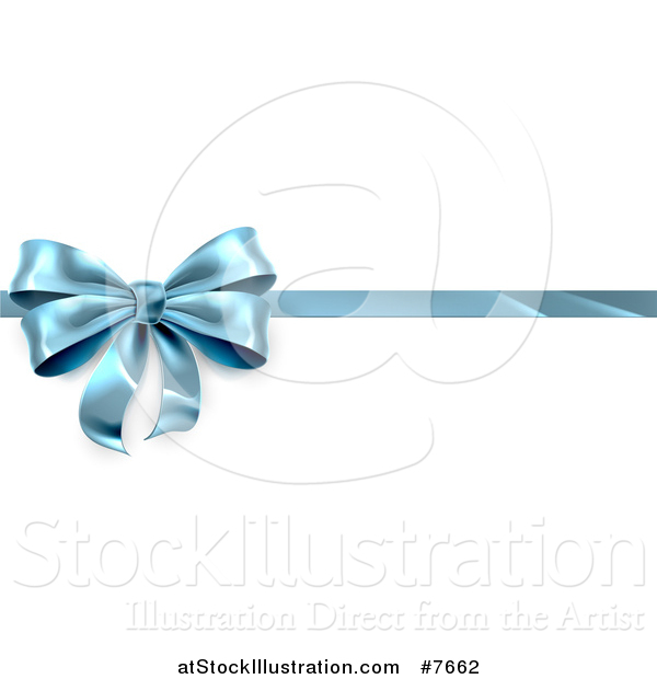 Vector Illustration of a 3d Blue Christmas, Birthday or Other Holiday Gift Bow and Ribbon over Shaded White