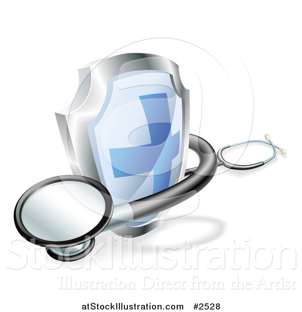 Vector Illustration of a 3d Blue Cross Shield and Medical Stethoscope