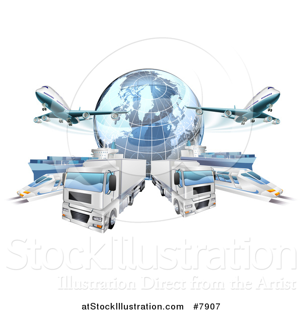 Vector Illustration of a 3d Blue Earth Globe and Cargo Logistics Modes, Trains, Planes Big Rig Trucks, and Ships