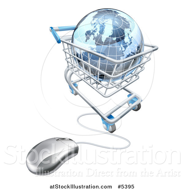 Vector Illustration of a 3d Blue Earth Globe in a Computer Shopping Cart