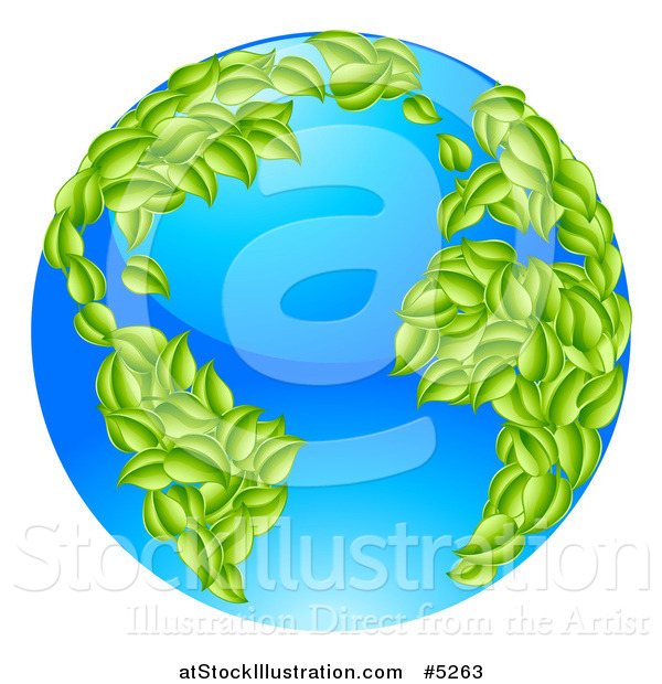 Vector Illustration of a 3d Blue Earth Globe with Leaf Continents, Featuring the Atlantic
