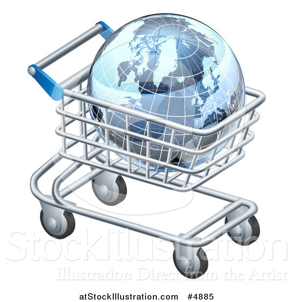Vector Illustration of a 3d Blue Grid Globe in a Shopping Cart