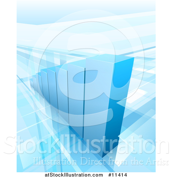 Vector Illustration of a 3d Blue Growing Bar Graph