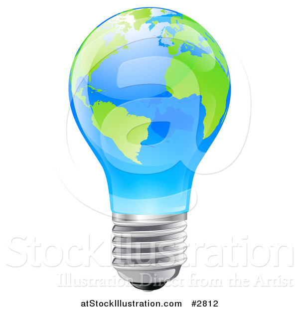 Vector Illustration of a 3d Blue Light Bulb with Green Continents