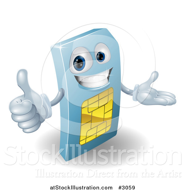 Vector Illustration of a 3d Blue SIM Card Mascot Holding a Thumb up