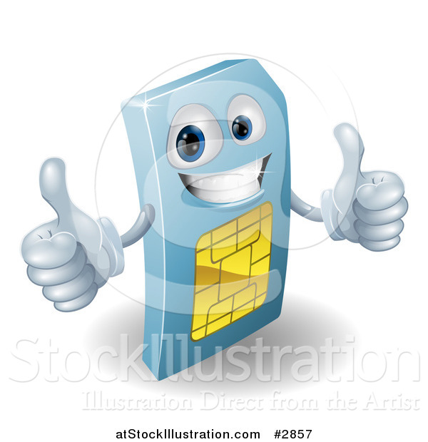 Vector Illustration of a 3d Blue SIM Card Mascot Holding Two Thumbs up