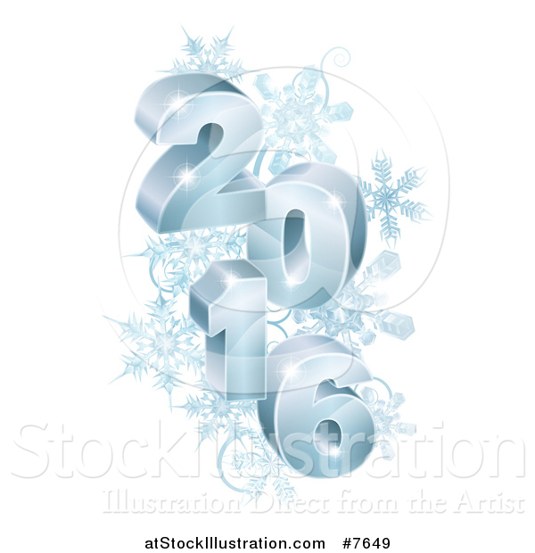 Vector Illustration of a 3d Blue Year 2016 with Snowflakes