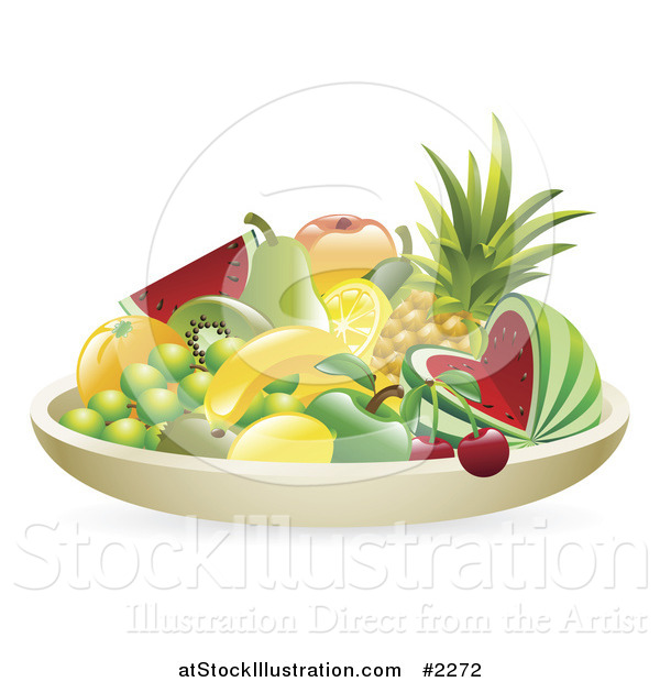 Vector Illustration of a 3d Bowl of Tropical Fruit