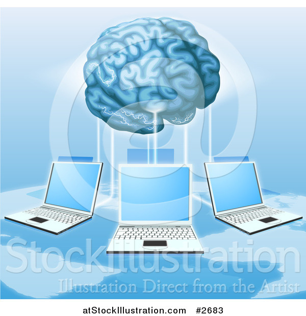 Vector Illustration of a 3d Brain Connected to a Network of Laptops Above a Map