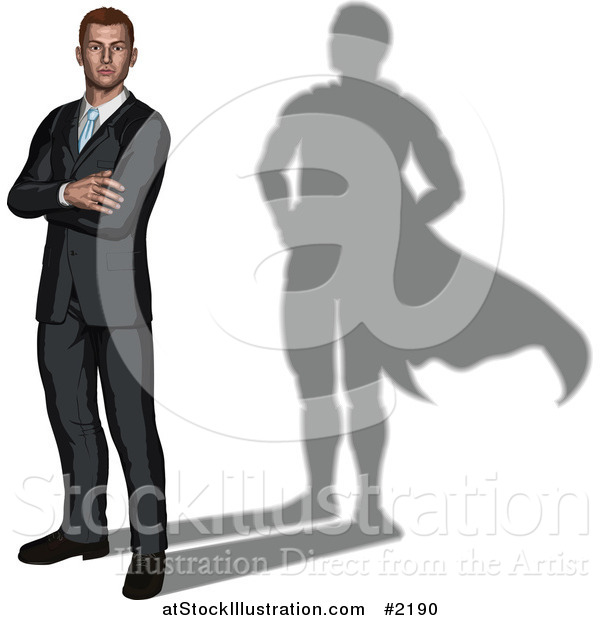 Vector Illustration of a 3d Businessman with a Super Hero Shadow