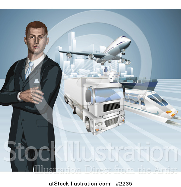 Vector Illustration of a 3d Businessman with Transport Modes