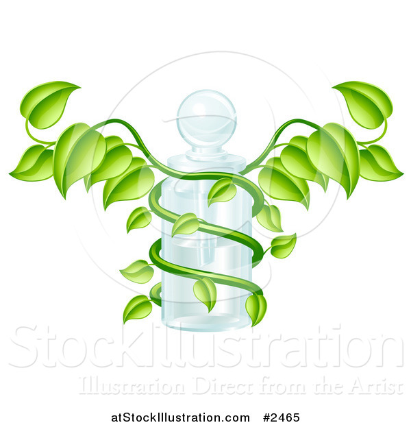 Vector Illustration of a 3d Caduceus Medical Bottle with a Green Vine