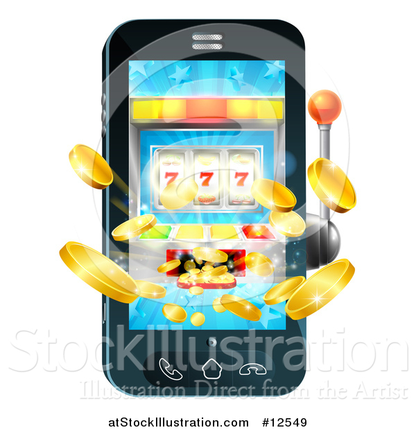 Vector Illustration of a 3d Casino Slot Machine Spitting out Coins from a Mobile Phone Screen