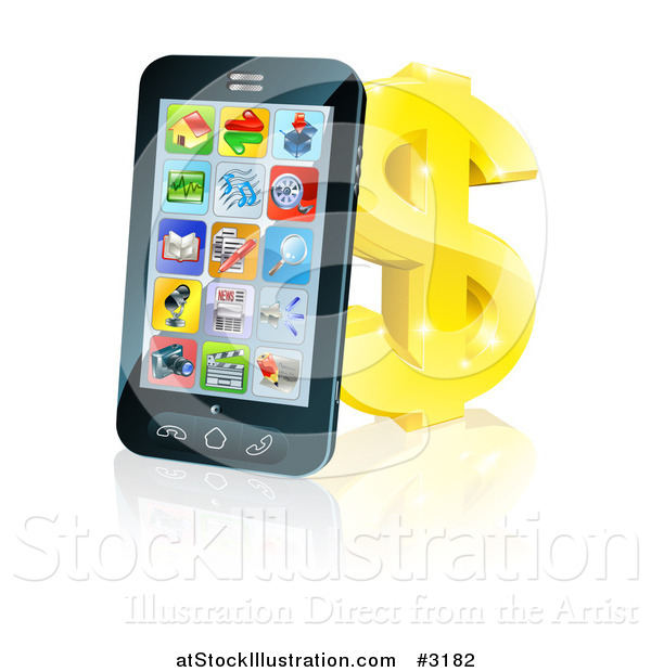 Vector Illustration of a 3d Cell Phone Leaning on a Golden Dollar Symbol