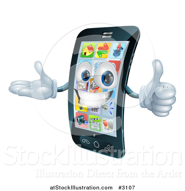 Vector Illustration of a 3d Cell Phone Mascot Holding a Thumb up