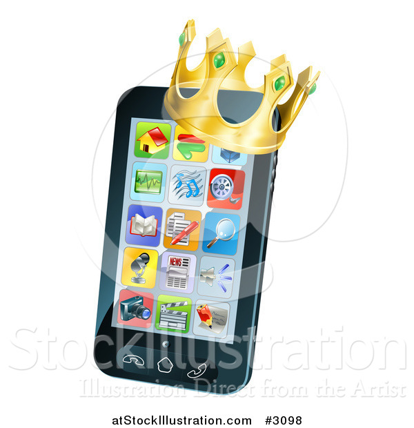 Vector Illustration of a 3d Cell Phone with a Crown