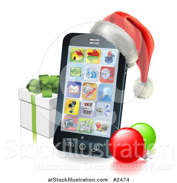 Vector Illustration of a 3d Cell Phone with a Santa Hat Christmas Baubles and Gift Box