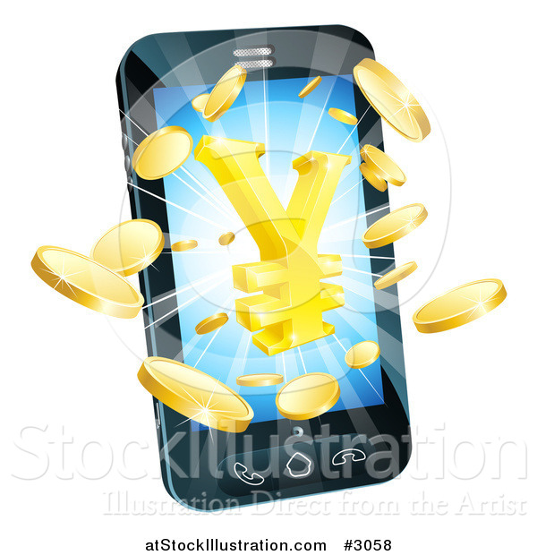 Vector Illustration of a 3d Cell Phone with Gold Coins and a Yen Symbol Bursting from the Screen