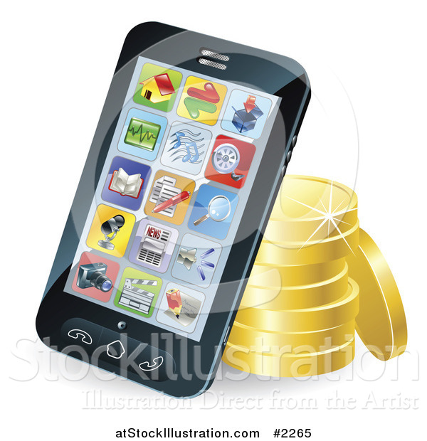 Vector Illustration of a 3d Cellphone Resting Against Gold Coins
