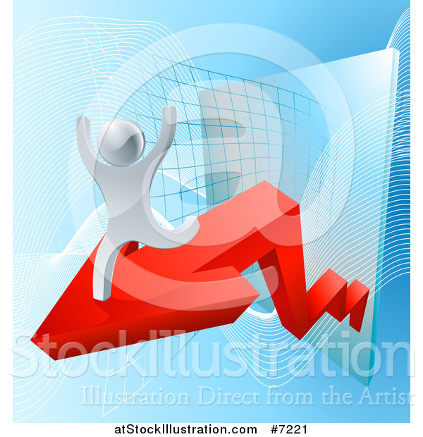 Vector Illustration of a 3d Cheering and Running Silver Man Running on an Arrow over a Chart on Blue