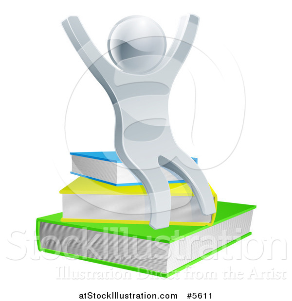 Vector Illustration of a 3d Cheering Silver Man Sitting on Books