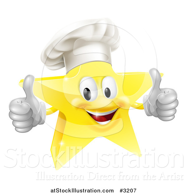 Vector Illustration of a 3d Chef Star Holding Two Thumbs up