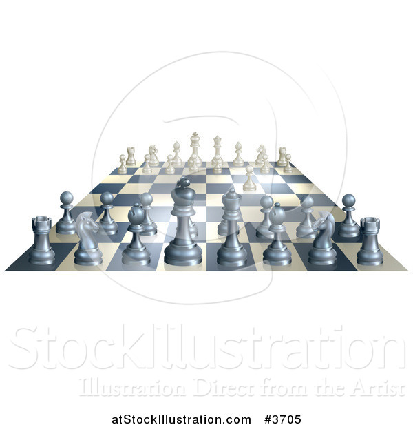 Vector Illustration of a 3d Chess Board with White Having Made the First Move