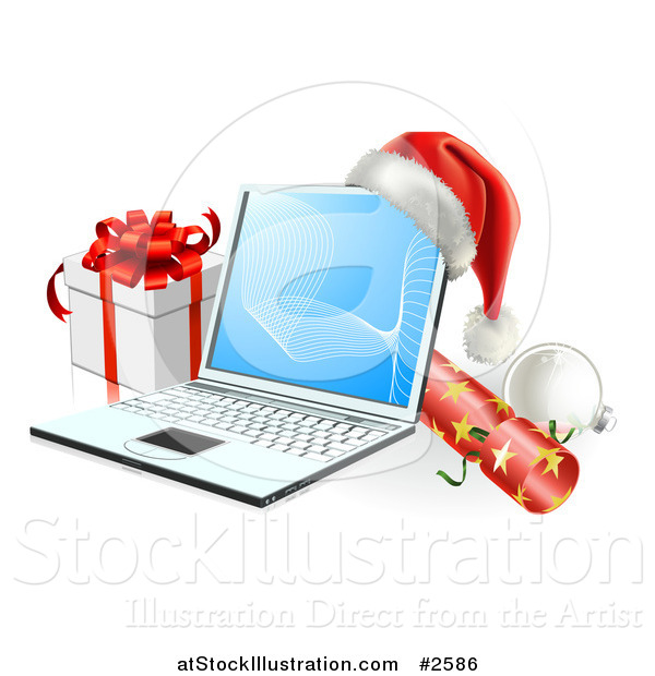 Vector Illustration of a 3d Christmas Laptop with a Hat Cracker Bauble and Gift