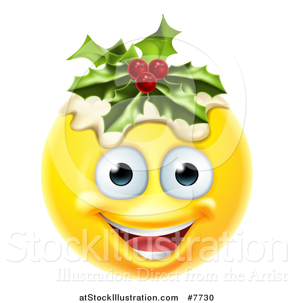 Vector Illustration of a 3d Christmas Pudding Yellow Smiley Emoji Emoticon Face