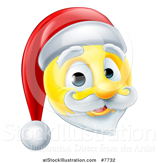 Vector Illustration of a 3d Christmas Santa Yellow Smiley Emoji Emoticon Face