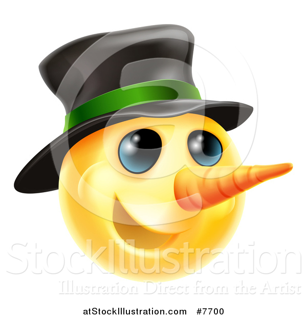 Vector Illustration of a 3d Christmas Snowman Yellow Smiley Emoji Emoticon Face Wearing a Hat