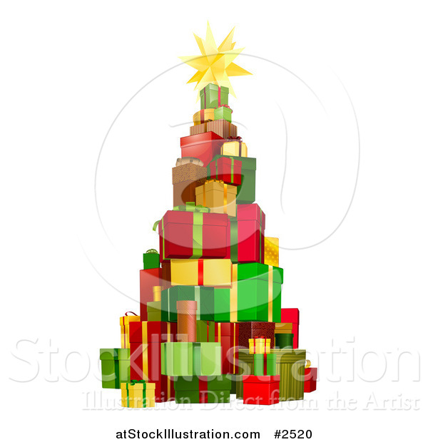 Vector Illustration of a 3d Christmas Tree Tower of Gifts