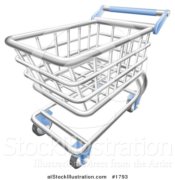 Vector Illustration of a 3d Chrome Trolly Shopping Cart with a Blue Handle