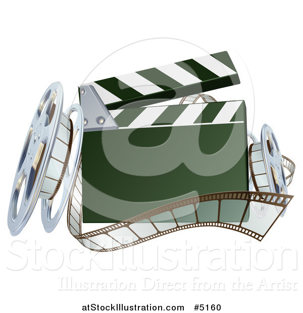 Vector Illustration of a 3d Clapper Board with Film and Reels