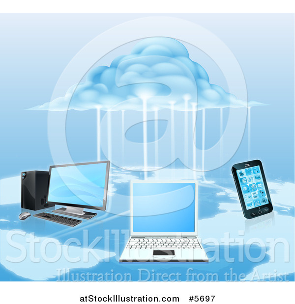 Vector Illustration of a 3d Cloud Electrifying a Network of Computers and a Cell Phone over a Map