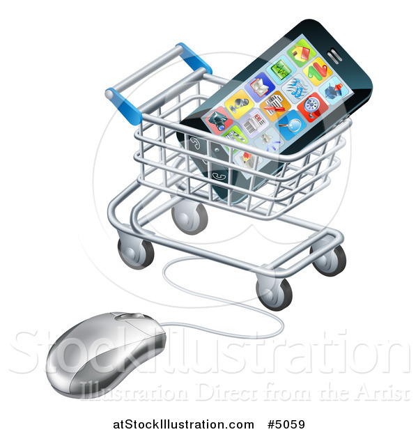 Vector Illustration of a 3d Computer Mouse and Cart with a Smart Phone