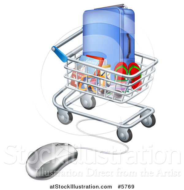 Vector Illustration of a 3d Computer Mouse Connected to a Shopping Cart Full of Luggage and Travel Items