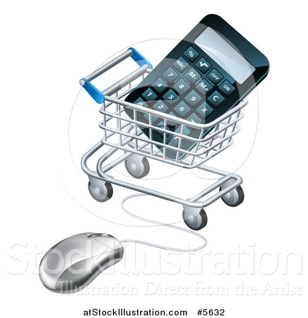 Vector Illustration of a 3d Computer Mouse Connected to a Shopping Cart with a Calculator