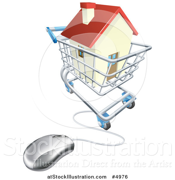 Vector Illustration of a 3d Computer Mouse Connected to an Online Shopping Cart with a House