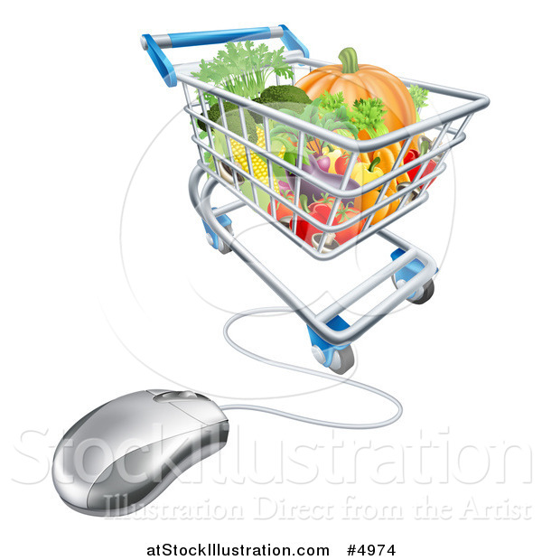Vector Illustration of a 3d Computer Mouse Connected to an Online Shopping Cart with Produce