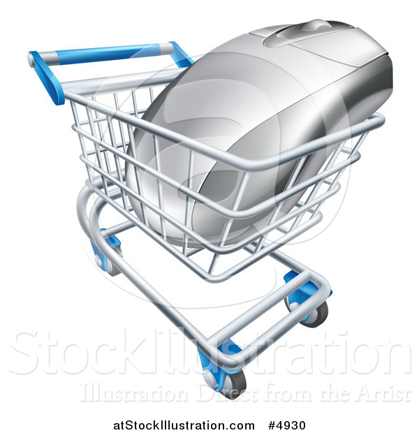 Vector Illustration of a 3d Computer Mouse in a Shopping Cart