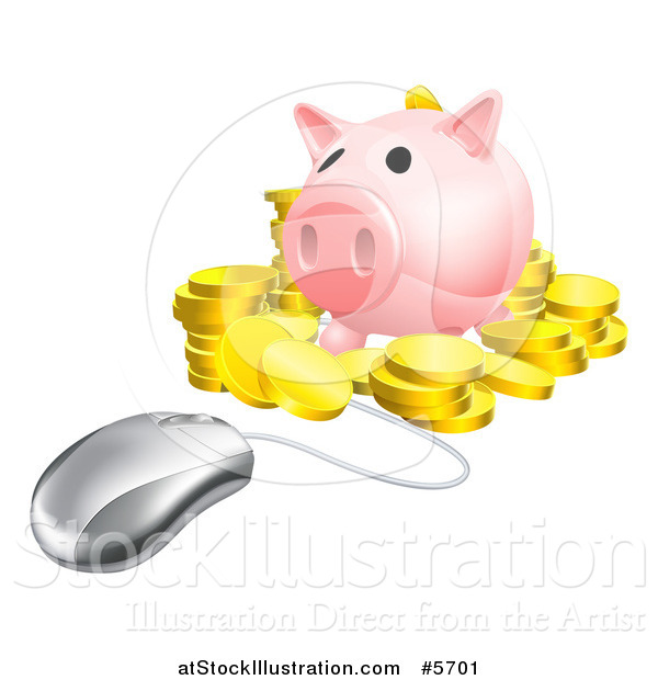 Vector Illustration of a 3d Computer Mouse Wired to a Piggy Bank with Gold Coins