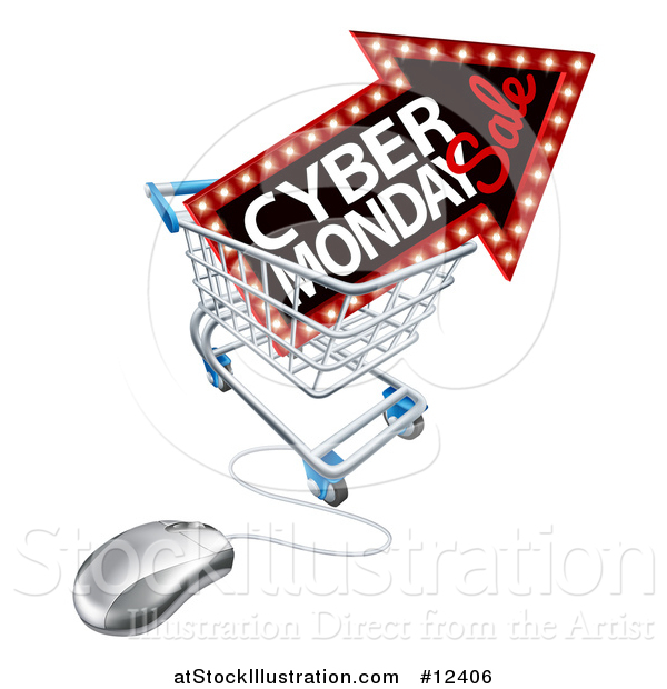 Vector Illustration of a 3d Computer Mouse with a Marquee Arrow Sign with Cyber Monday Sale Text in a Shopping Cart