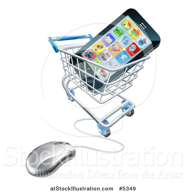 Vector Illustration of a 3d Computer Shopping Cart with a Cell Phone Inside