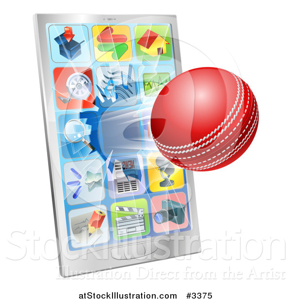 Vector Illustration of a 3d Cricket Ball Flying Through and Breaking a Cell Phone Screen