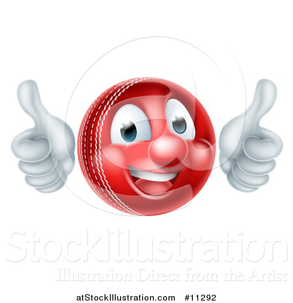 Vector Illustration of a 3d Cricket Ball Mascot Character Giving Two Thumbs up