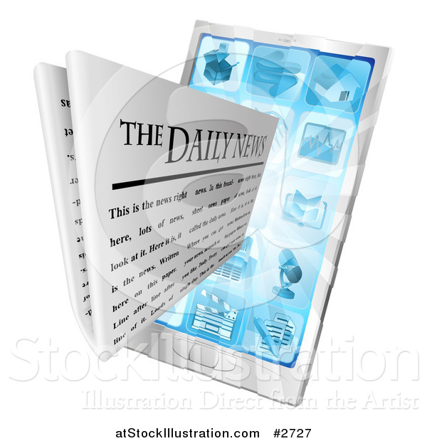 Vector Illustration of a 3d Daily Newspaper Emerging from a Cell Phone