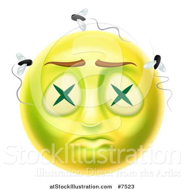 Vector Illustration of a 3d Dead Rotting Smiley Emoji Emoticon Face with Flies